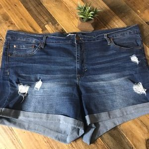 Dollhouse Dylan Distressed Cuff Hem Stretch Shorts